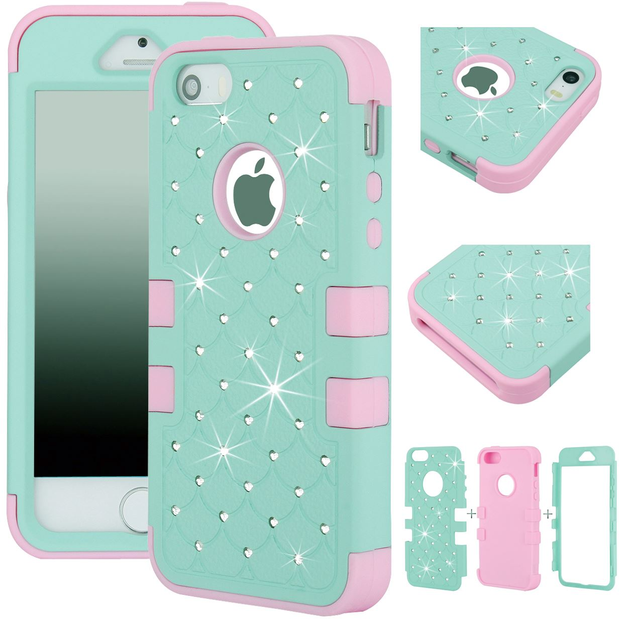 Sweet Mint & Pink 3 Layer Bling Crystals Hard/Soft Durable Protective Case Cover
