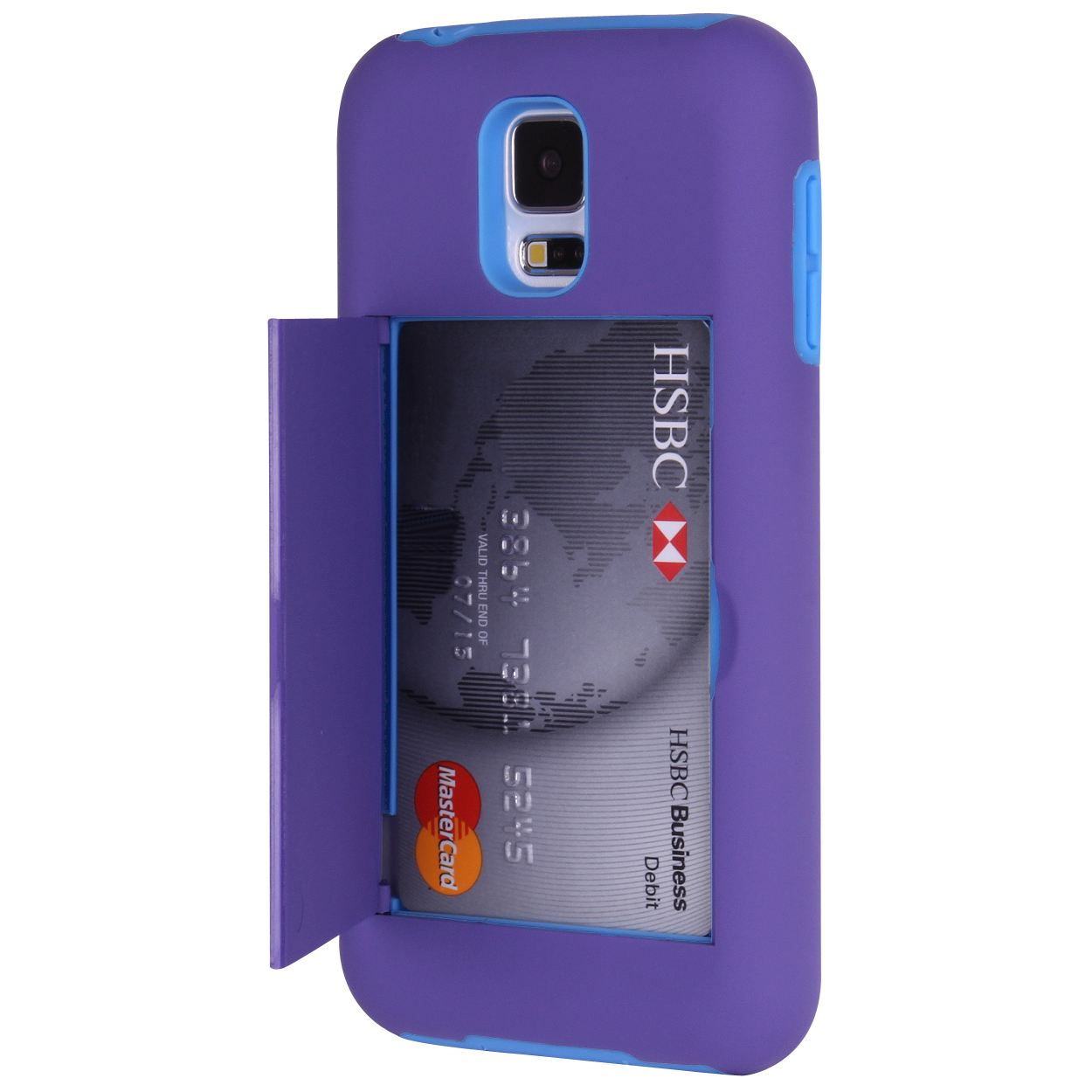 Hard/Soft Heavy Duty Hybrid Credit Card Wallet Case Cover for Samsung Galaxy S5
