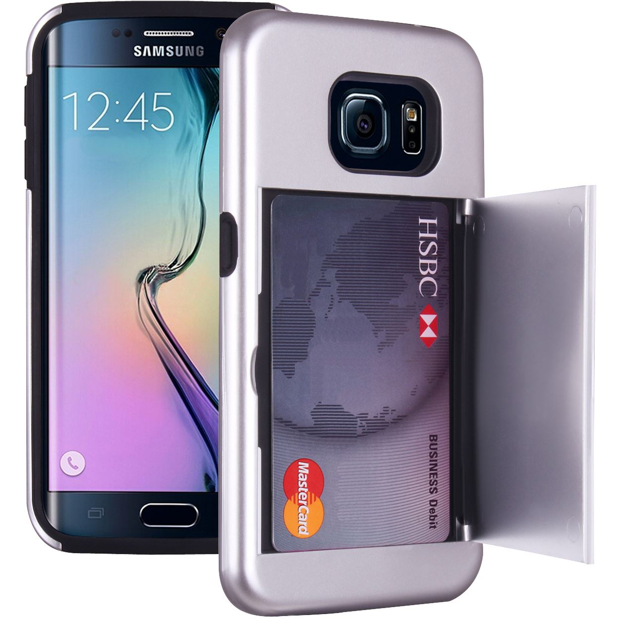 Samsung Galaxy S6 Edge Card Holder Case Wallet Hard/Soft Heavy Duty ...