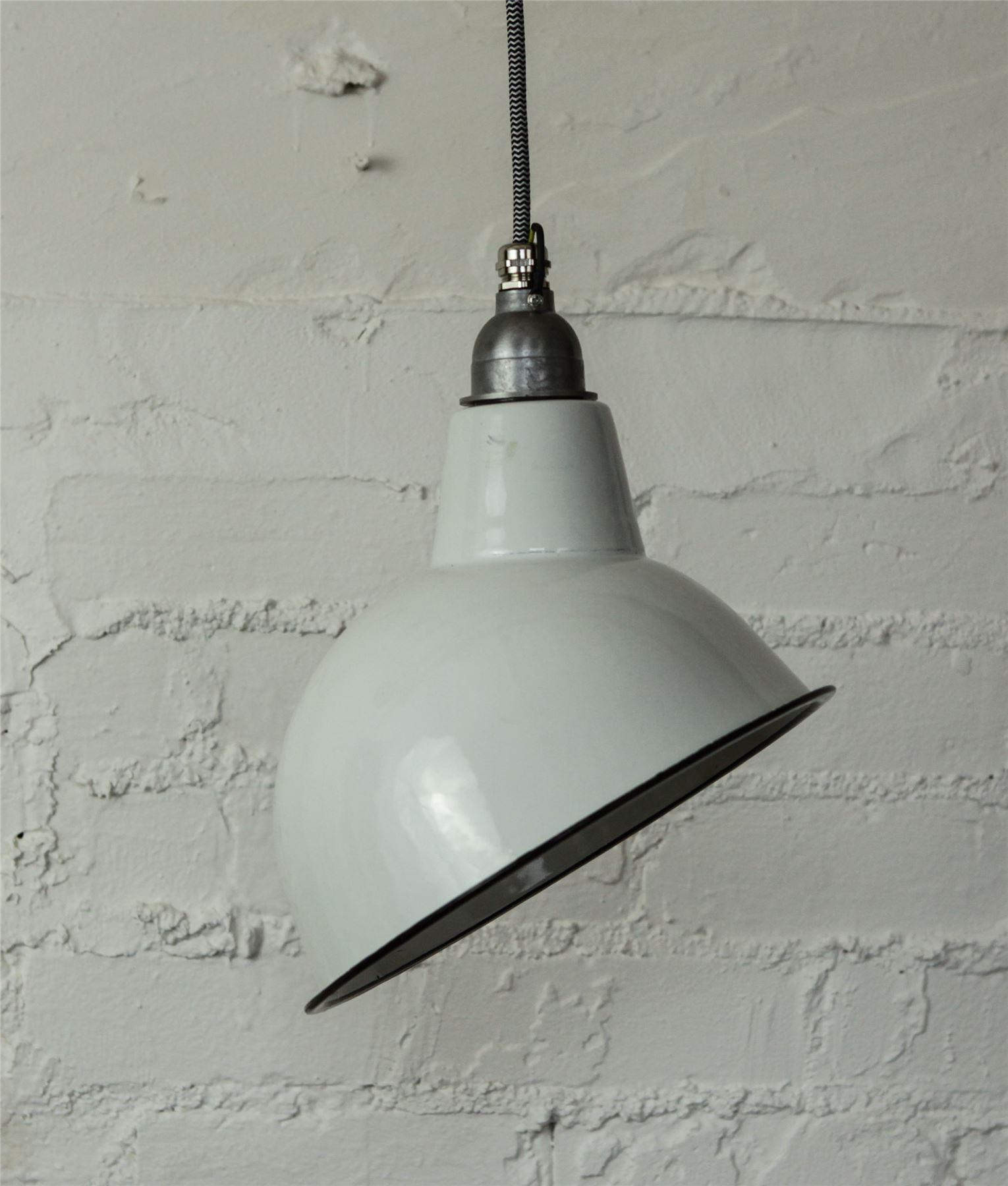 LAMPADA DA SOFFITTO BIANCO SMALTATO Vintage industriali ...