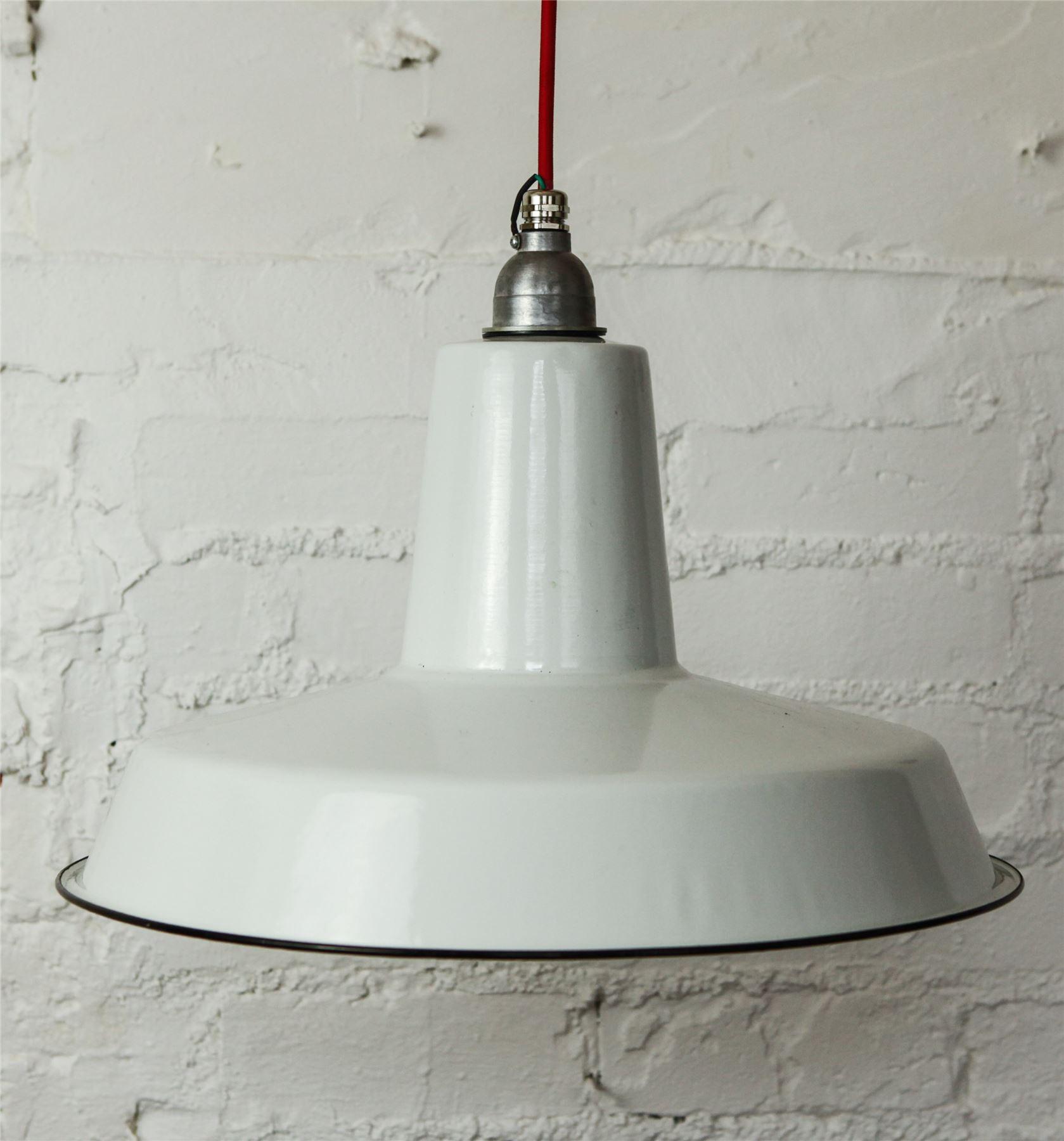 lampadari industriali vintage : ... DA-SOFFITTO-BIANCO-SMALTATO-Vintage-industriali-cavo-in-tessuto-ombra