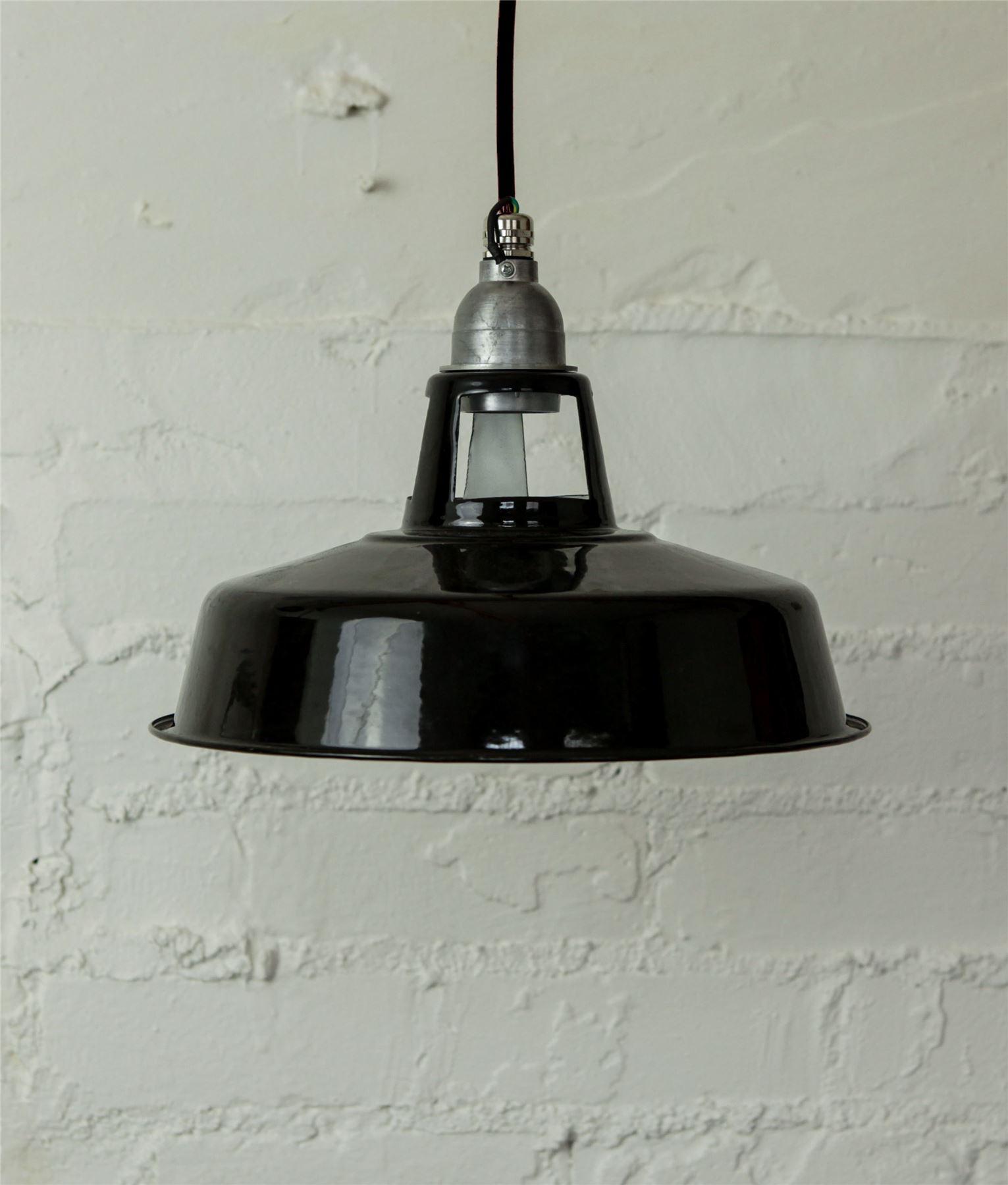 Lampada da soffitto vintage smalto industriale nero ...