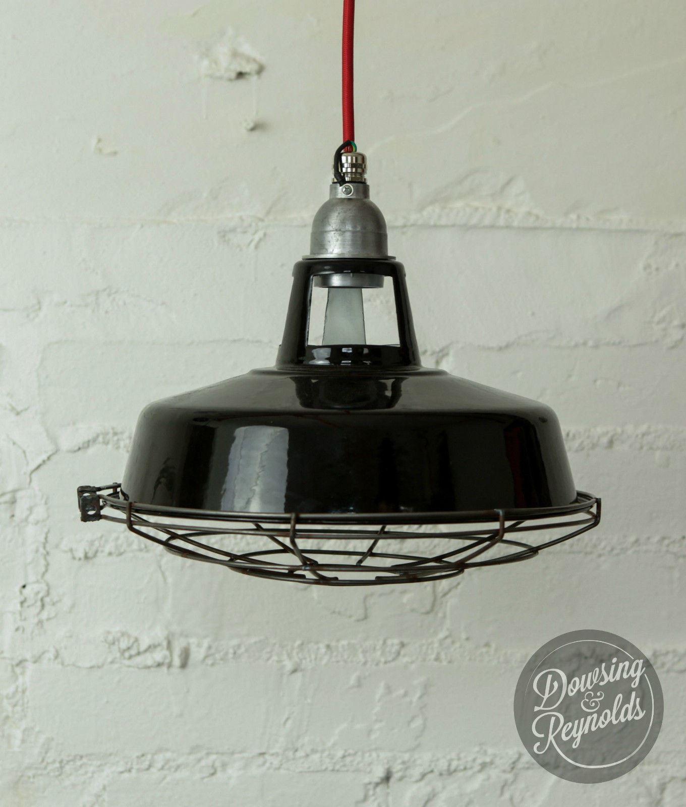 lampadari industriali vintage : ... DA-SOFFITTO-SMALTO-NERO-Vintage-industriali-con-cavo-in-tessuto-ombra
