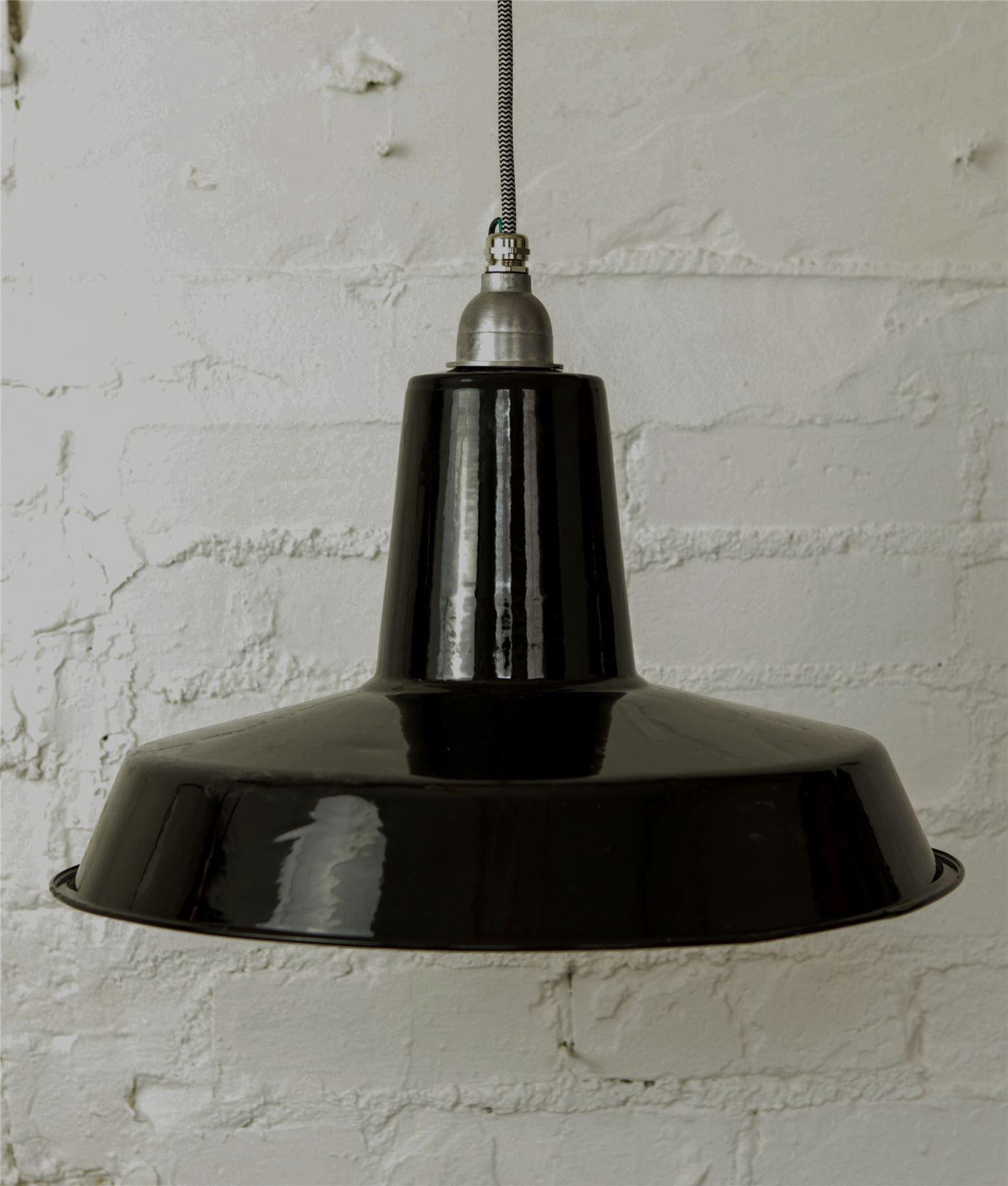 linton vintage industrie emaille deckenleuchte schwarz mit stoffkabel ebay. Black Bedroom Furniture Sets. Home Design Ideas