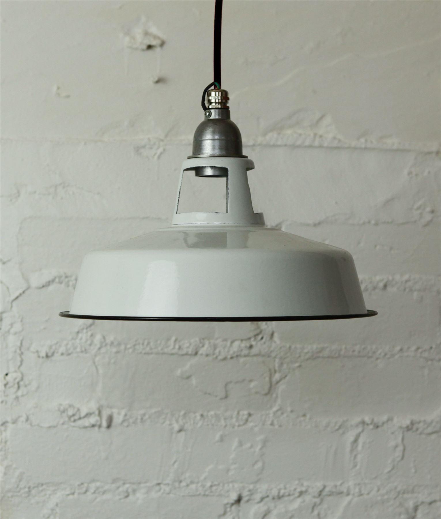 deckenleuchte wei emaille vintage industrie lampenschirm stoffkabel ebay. Black Bedroom Furniture Sets. Home Design Ideas