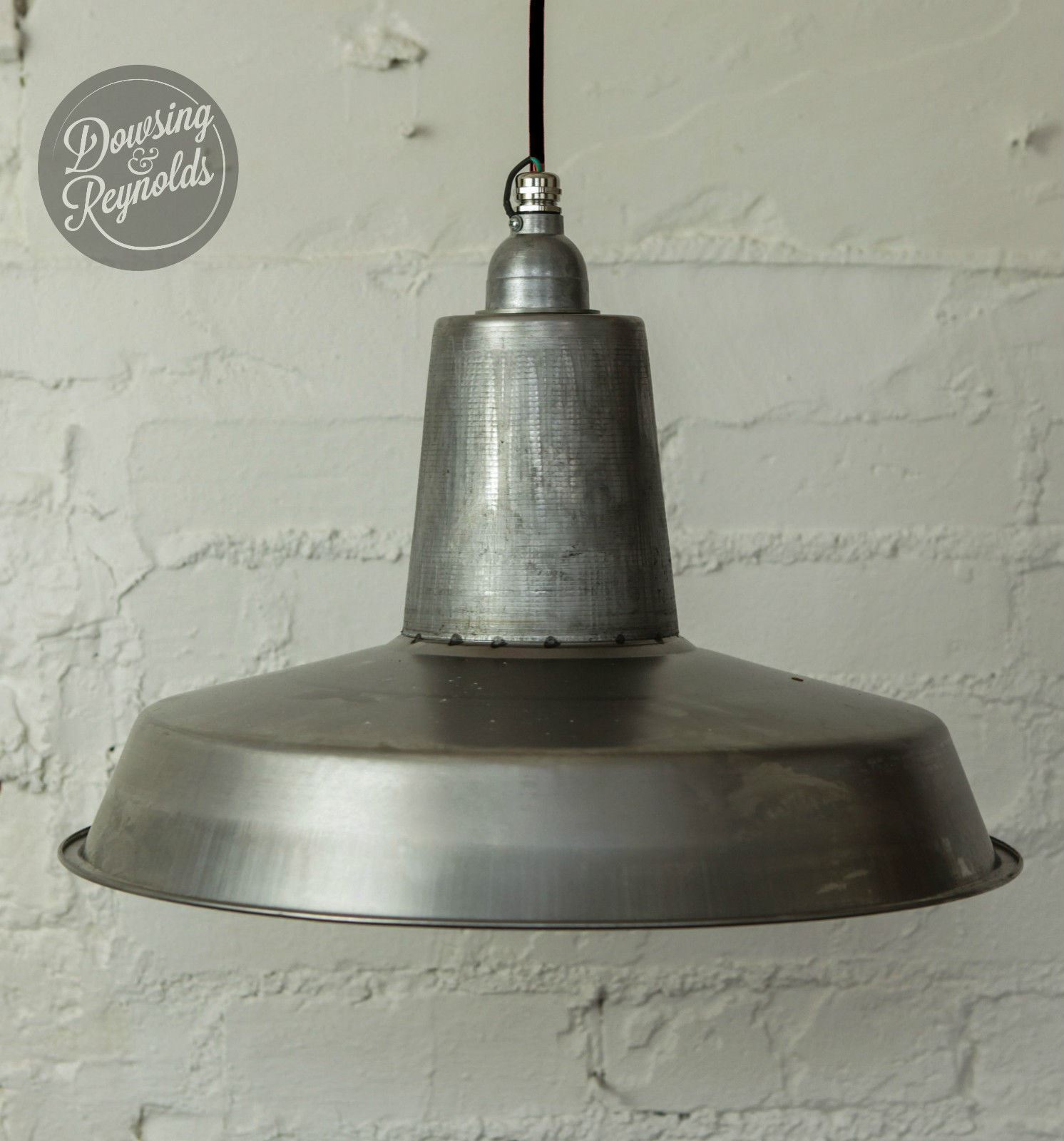 Linton plafonnier industriel vintage acier brut avec c ble en tissu ebay for Plafonnier industriel