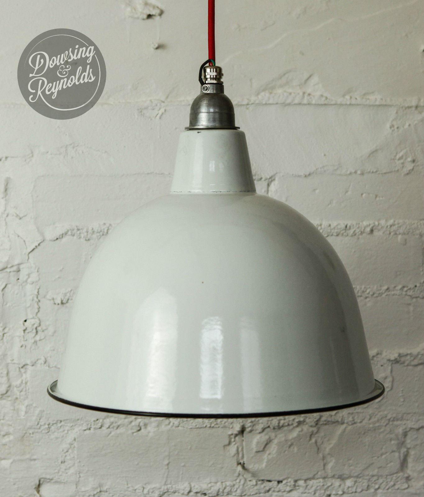 Lampada da soffitto vintage smalto industriale  bianco  con cavo di tessuto...