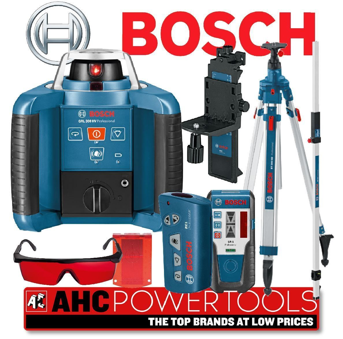 bosch grl 300 hv pro site rotierende laser level set. Black Bedroom Furniture Sets. Home Design Ideas