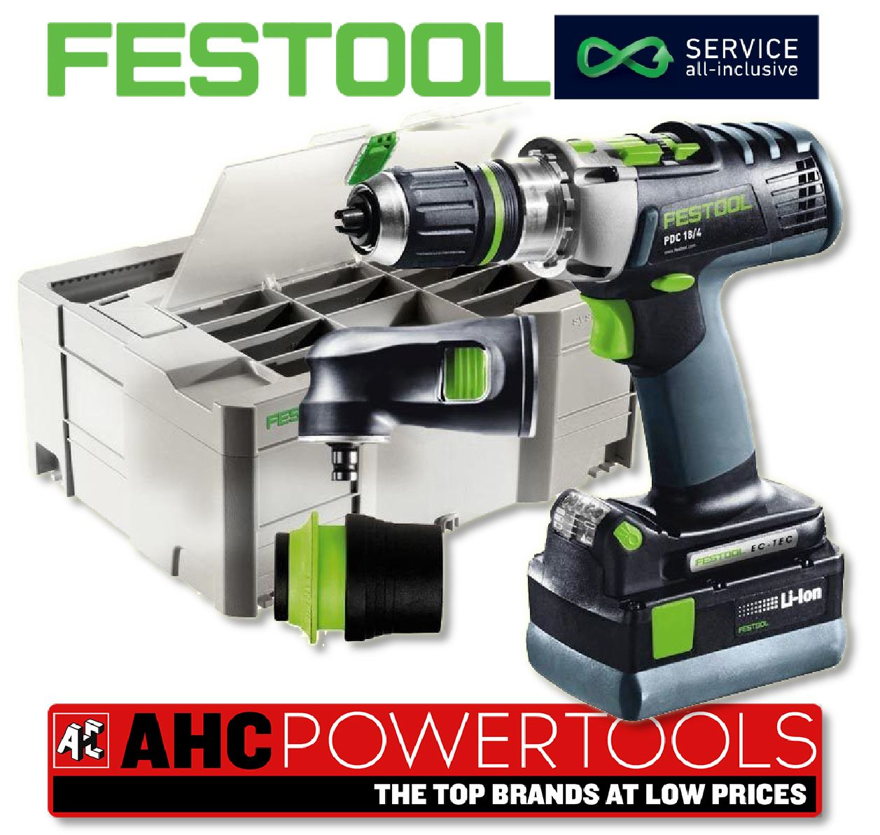 festool 18v quadrive pdc combi hammer drill set 2 x. Black Bedroom Furniture Sets. Home Design Ideas