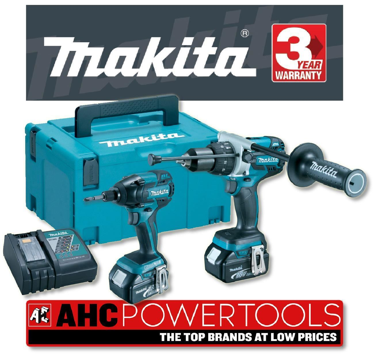 makita dlx2040 rfe 18v cordless brushless li ion 2 piece kit 2 x 3ah batteries ebay. Black Bedroom Furniture Sets. Home Design Ideas