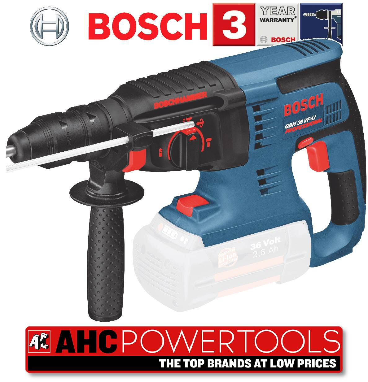 bosch gbh 36v sds rotary hammer drill gbh 36 vf li gbh36vfli body only. Black Bedroom Furniture Sets. Home Design Ideas