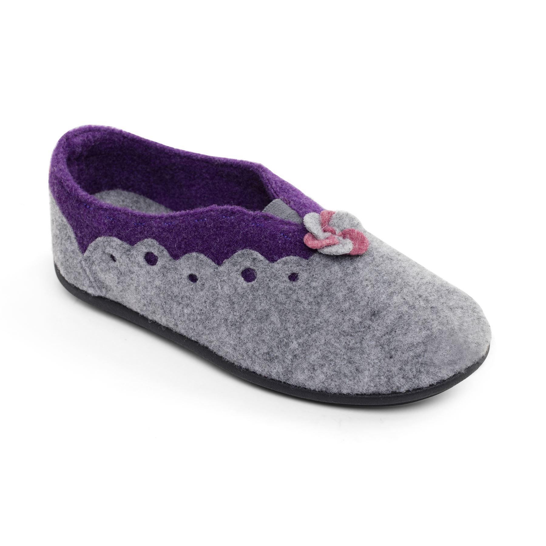 Padders Mujer Zapatillas De Fieltro 'Hannah' | Extra ancho Plus EE-EEE Ajuste talón | 15mm