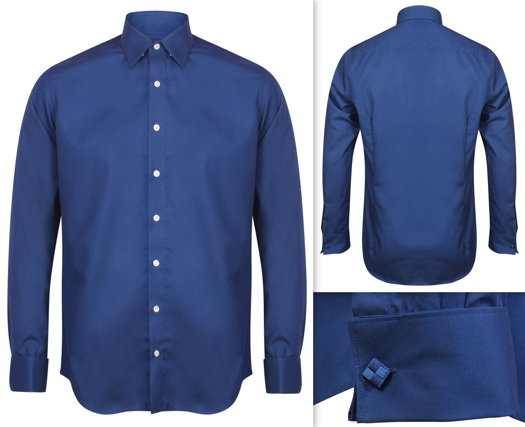 Mens shirt invictus slim athletic body fit easycare cotton for Mens shirt french cuff