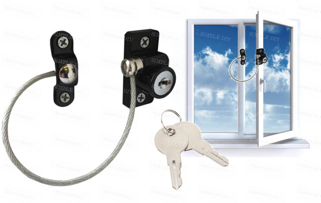child safety window lock key cable window restrictor child proof security wire ebay. Black Bedroom Furniture Sets. Home Design Ideas
