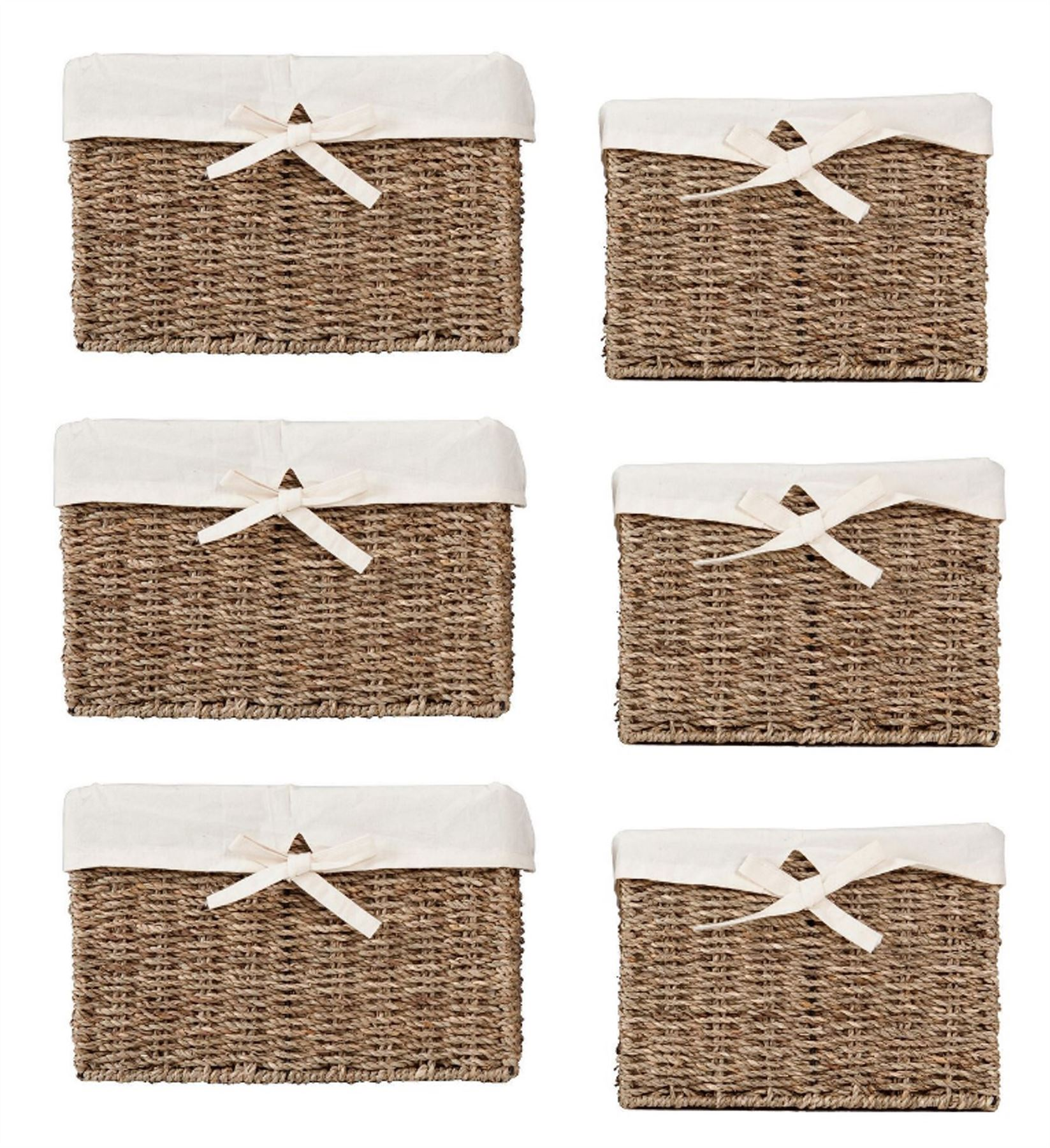 Traditional Small Wicker Basket With Liner&handle : Traditional quality lined wicker storage shelf basket