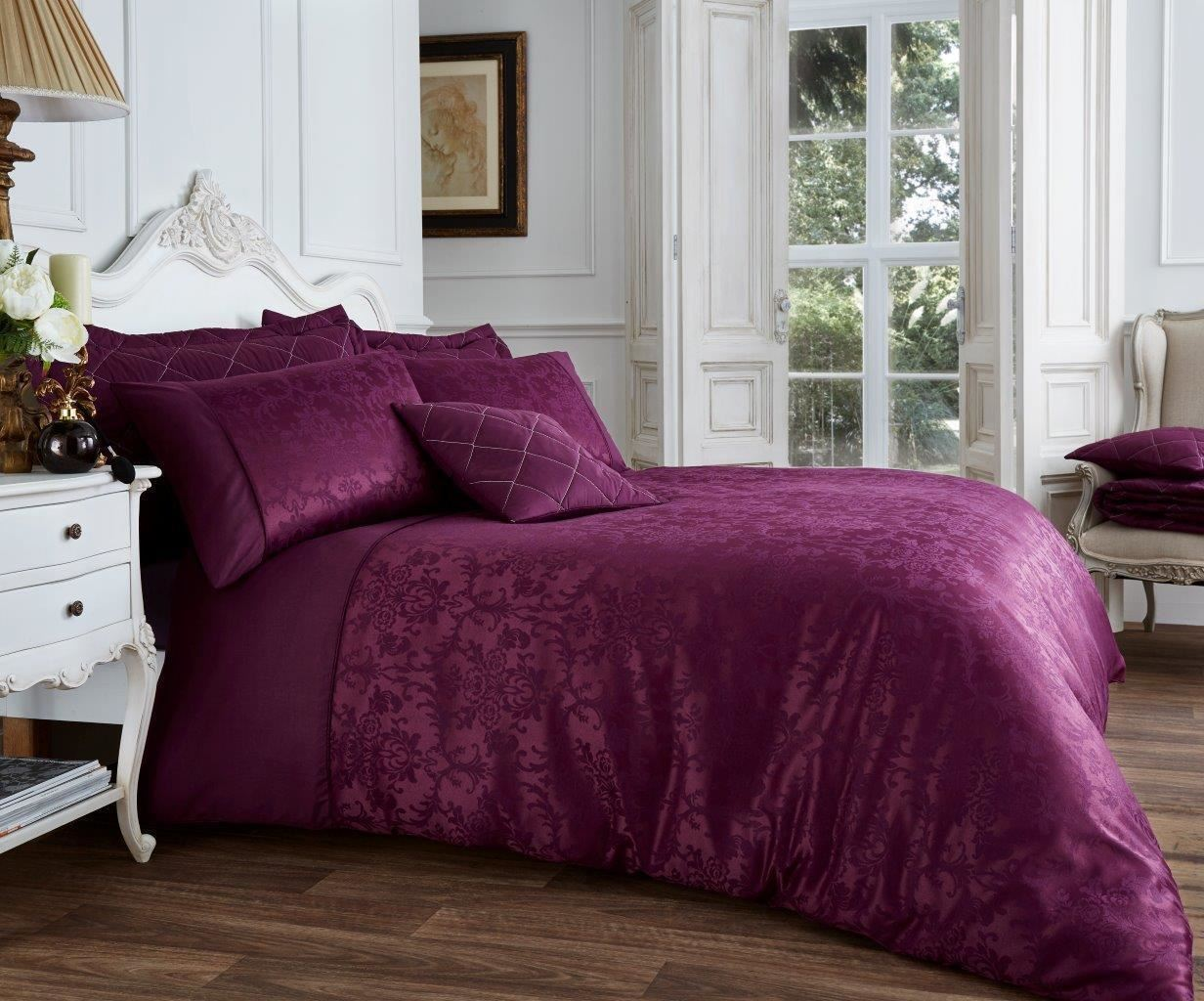 Luxurious vincenza duvet set quilt cover bedding set with pillow cases all sizes ebay - Bedlinnen aubergine ...