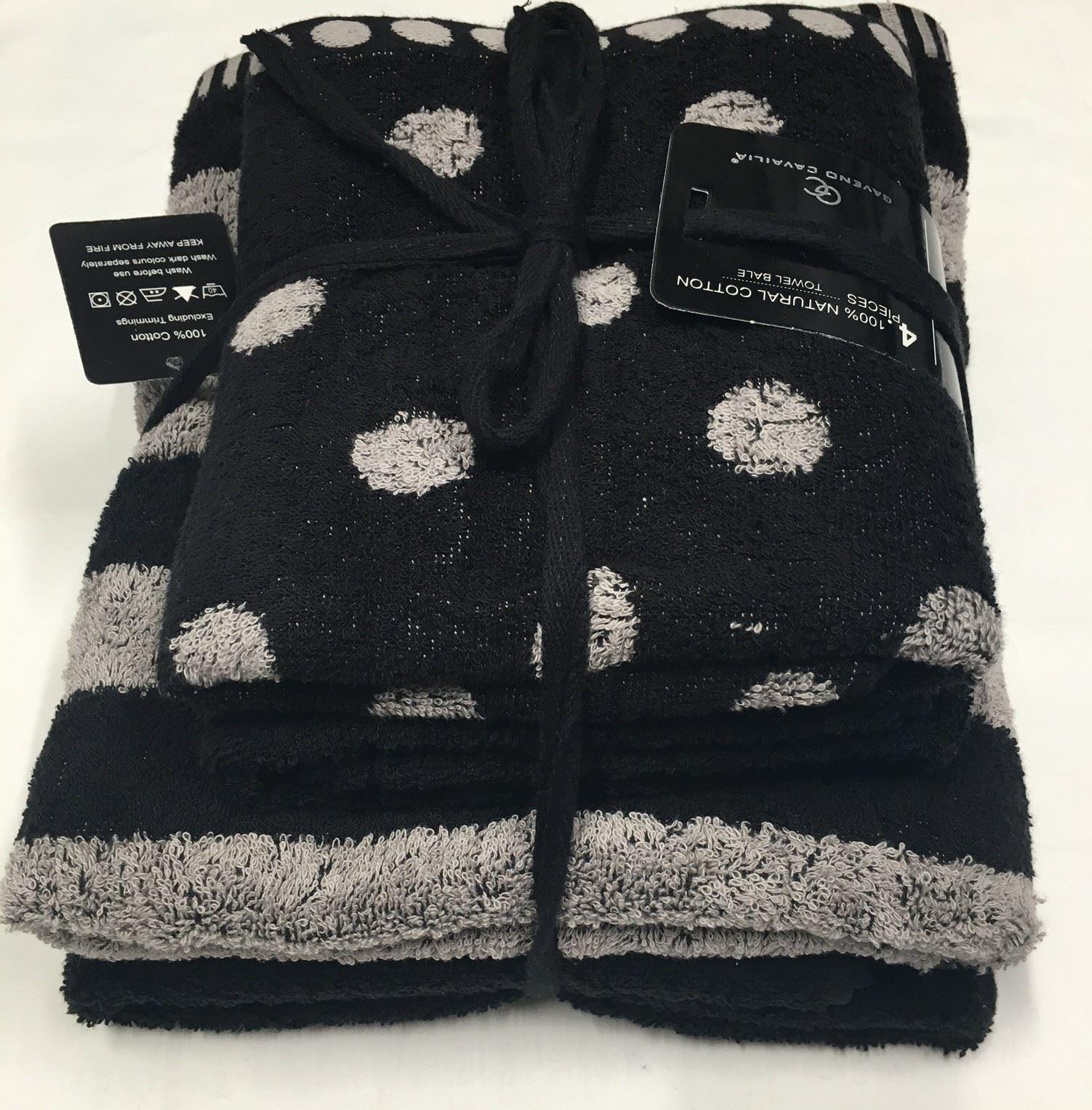 Who Sells Cannon Bath Towels: Polka Dot & Stripe 4 Pcs Bale Set Hand Towel Bath Towel
