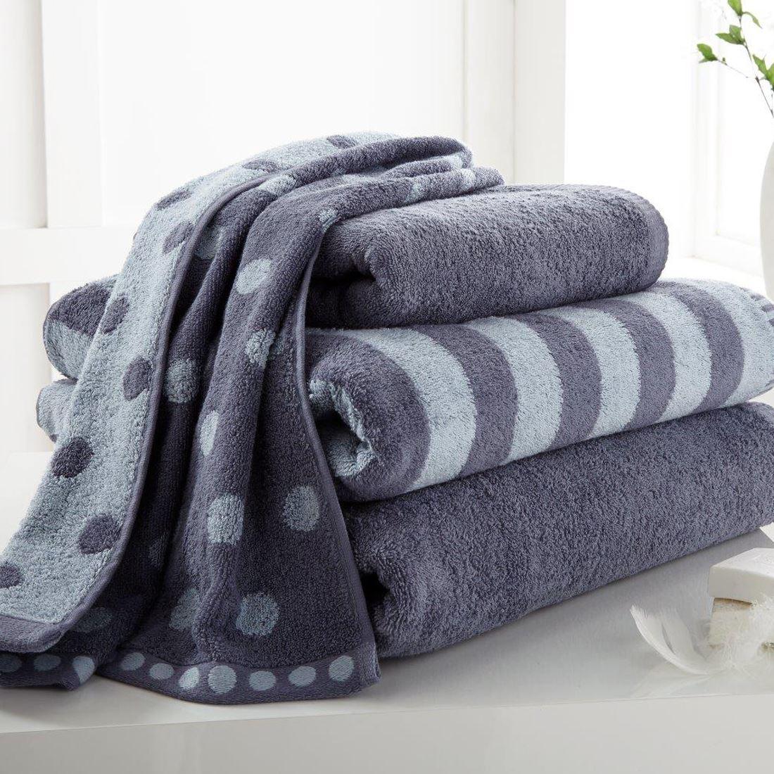 Polka Dot Amp Stripe 4 Pcs Bale Set Hand Towel Bath Towel