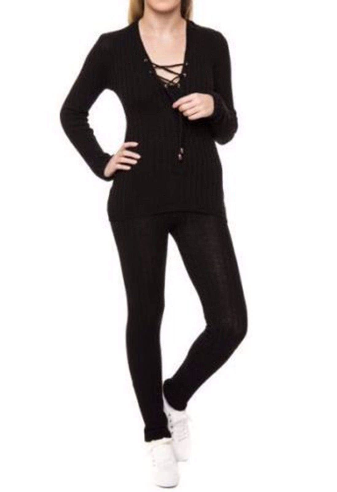 Womens-Lace-Up-Ribbed-Tie-Front-Tracksuit-Relaxed-Jogging-Lounge-Suit-Gym