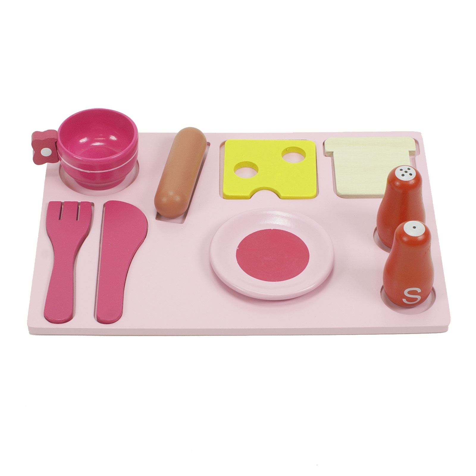 Wooden Kitchen Accessories ~ Childrens girls pink wooden toy kitchen with piece