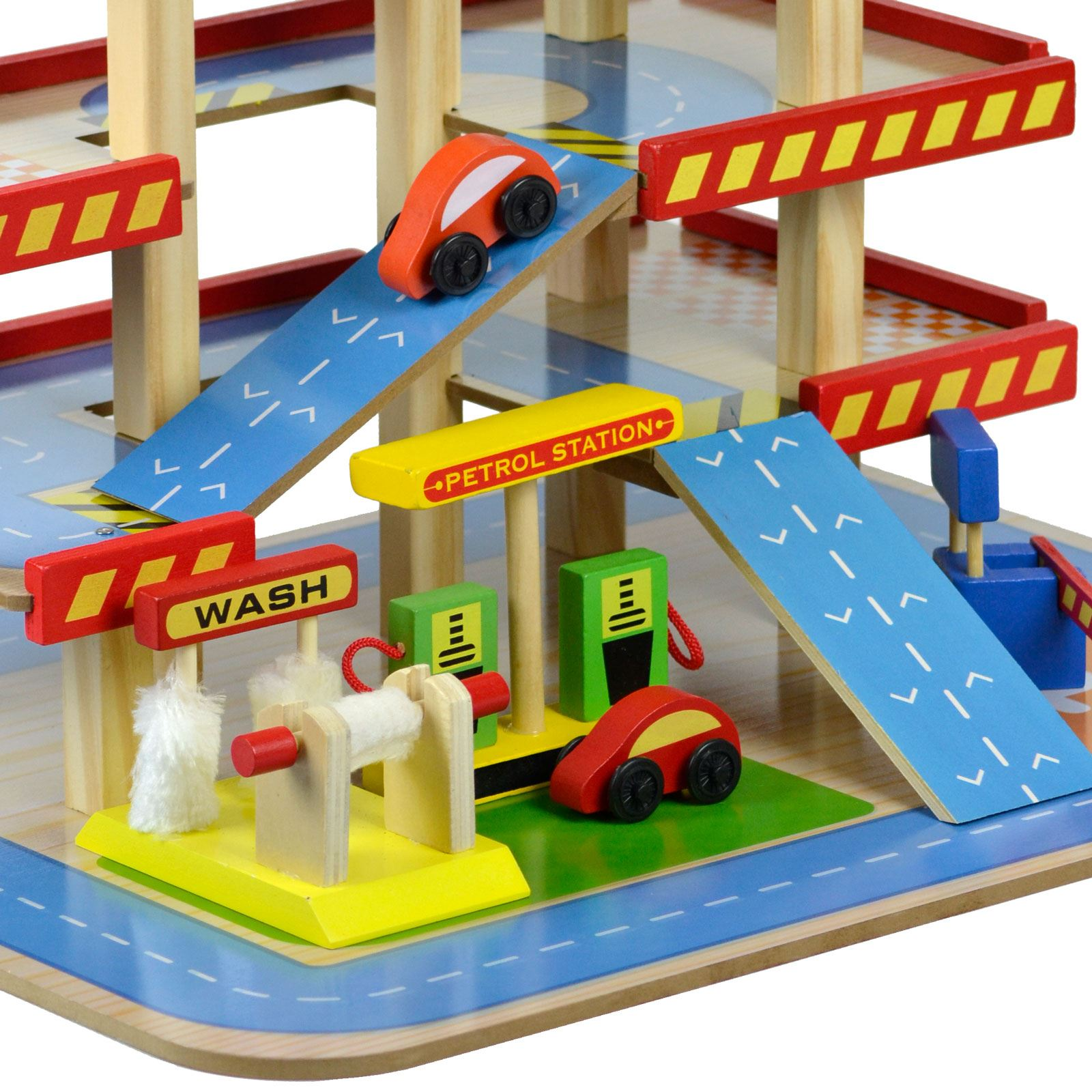 Wooden Toy Car Garage : Wooden multi storey car park petrol garage gas station