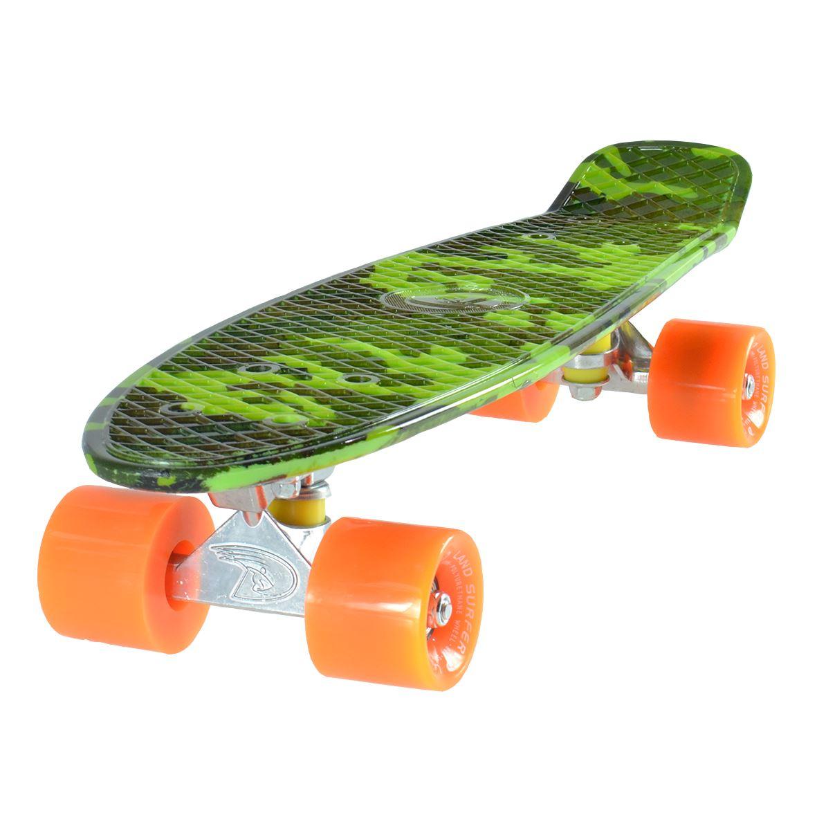 land surfer cruiser skateboard 22 39 39 camouflage brett solid orange reifen ebay. Black Bedroom Furniture Sets. Home Design Ideas