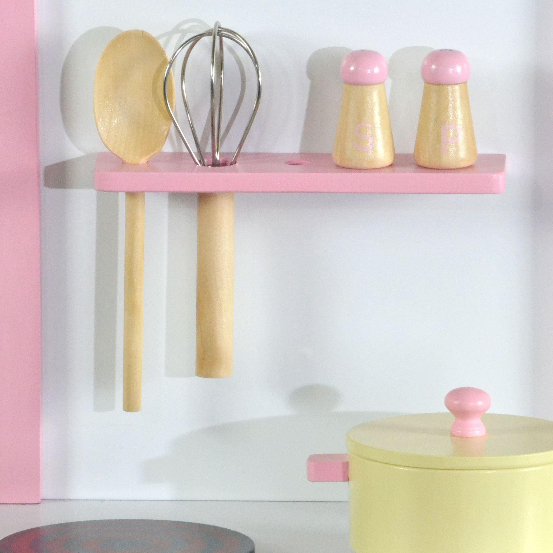 Enfants Rose Filles Jouet En Bois Cuisine avec 5 pièces Accessoires  eBay
