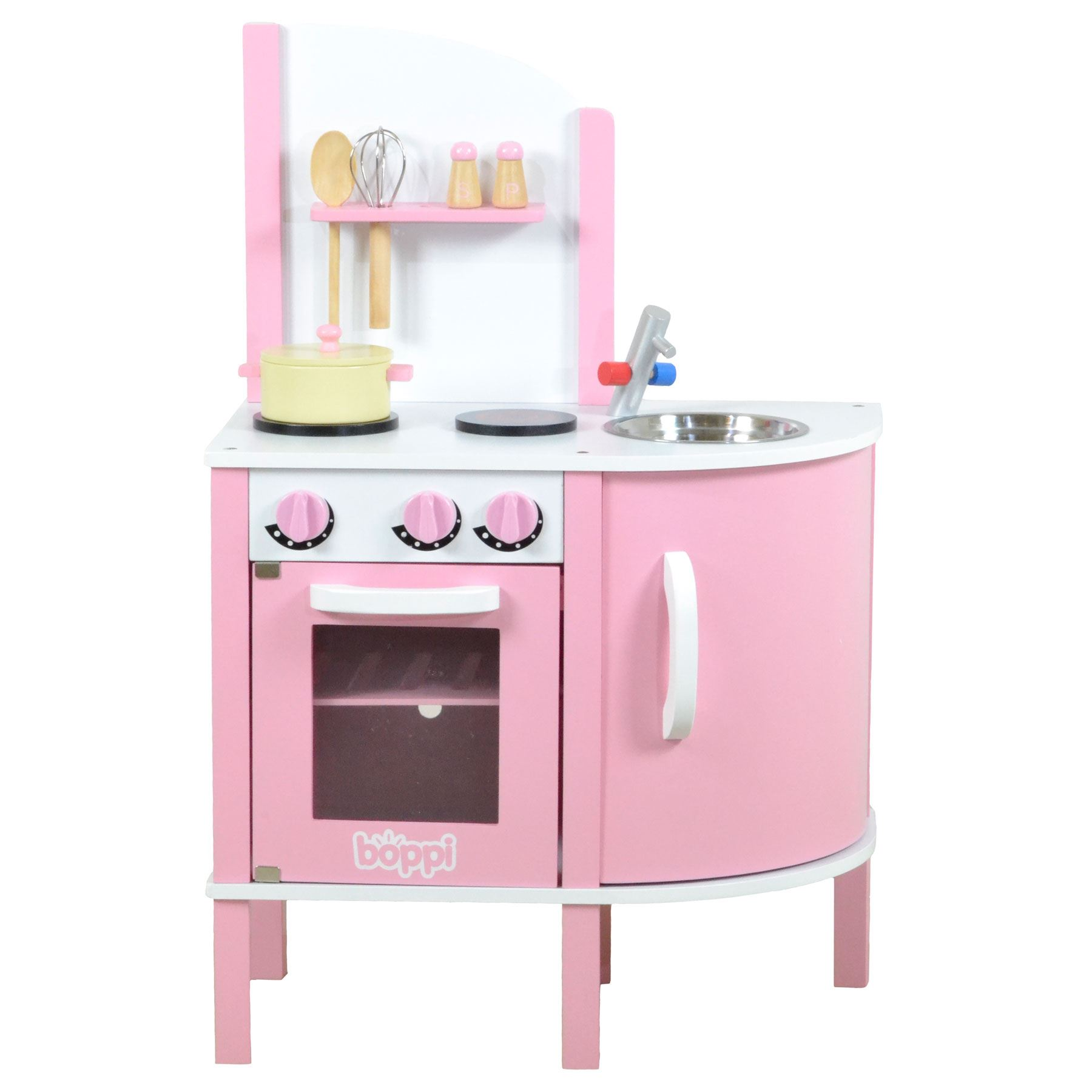 Childrens girls pink wooden toy kitchen with 5 piece for Kitchen set pink