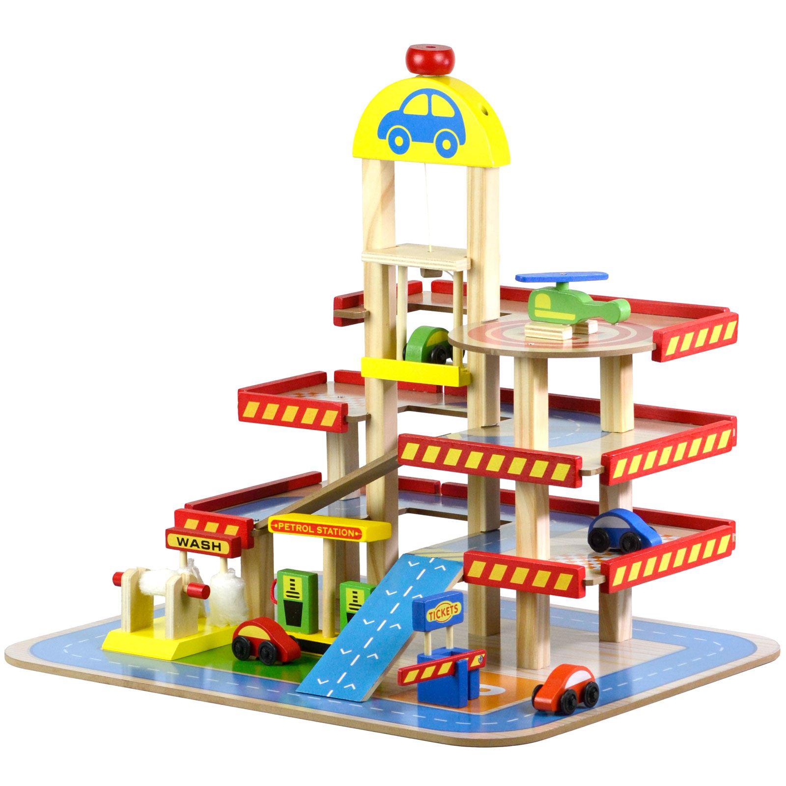 Wooden Toy Car Garage : Wooden multi storey car park petrol garage gas station