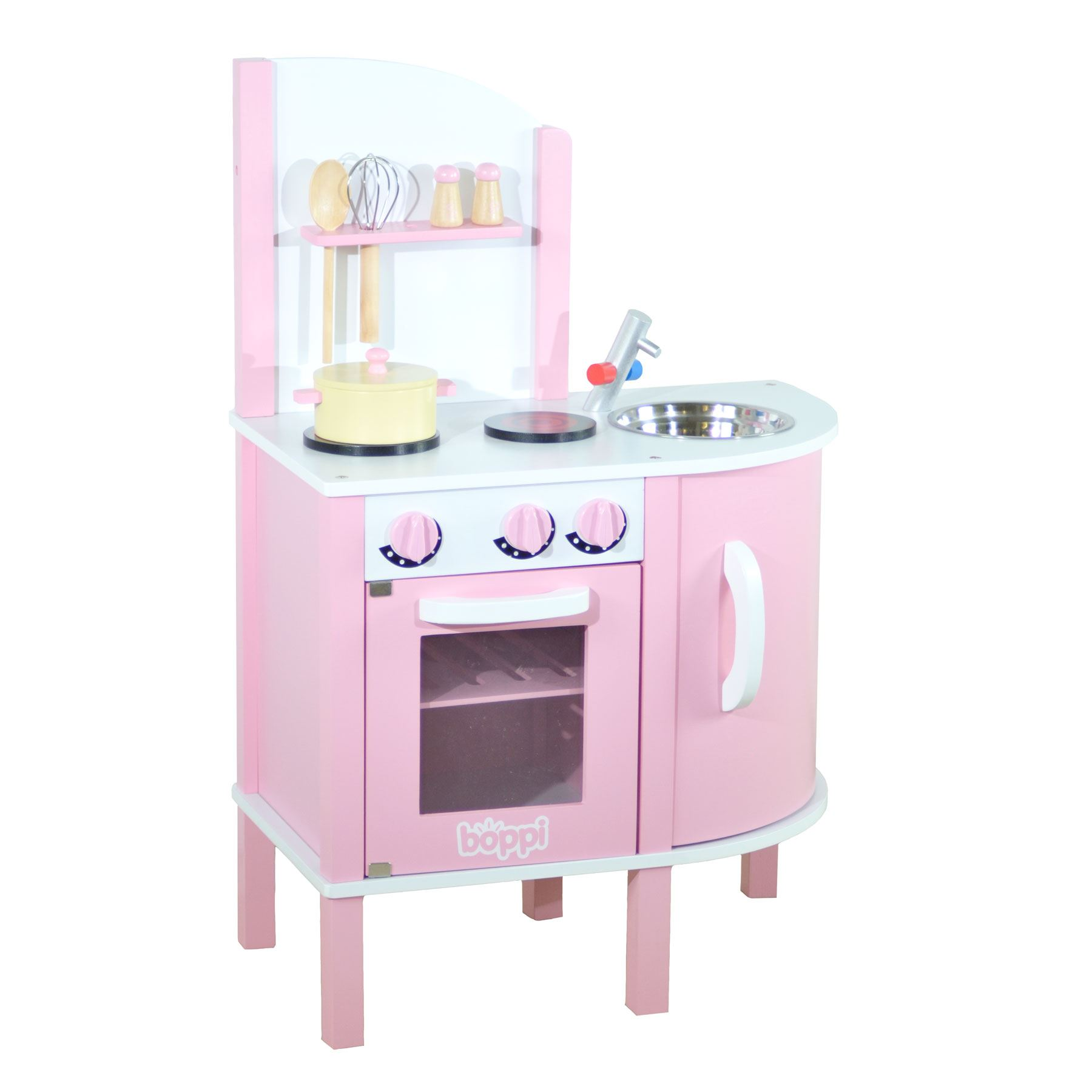 Childrens girls pink wooden toy kitchen with 5 piece for Kitchen set toys divisoria