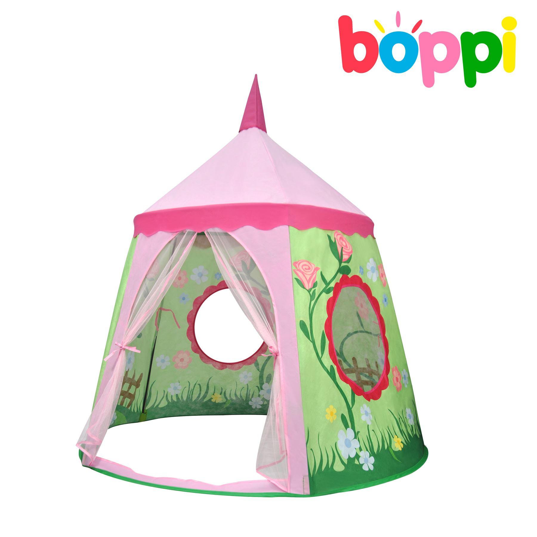 childrens kids canvas playtent pink garden outdoor indoor pop up tent playhouse ebay. Black Bedroom Furniture Sets. Home Design Ideas