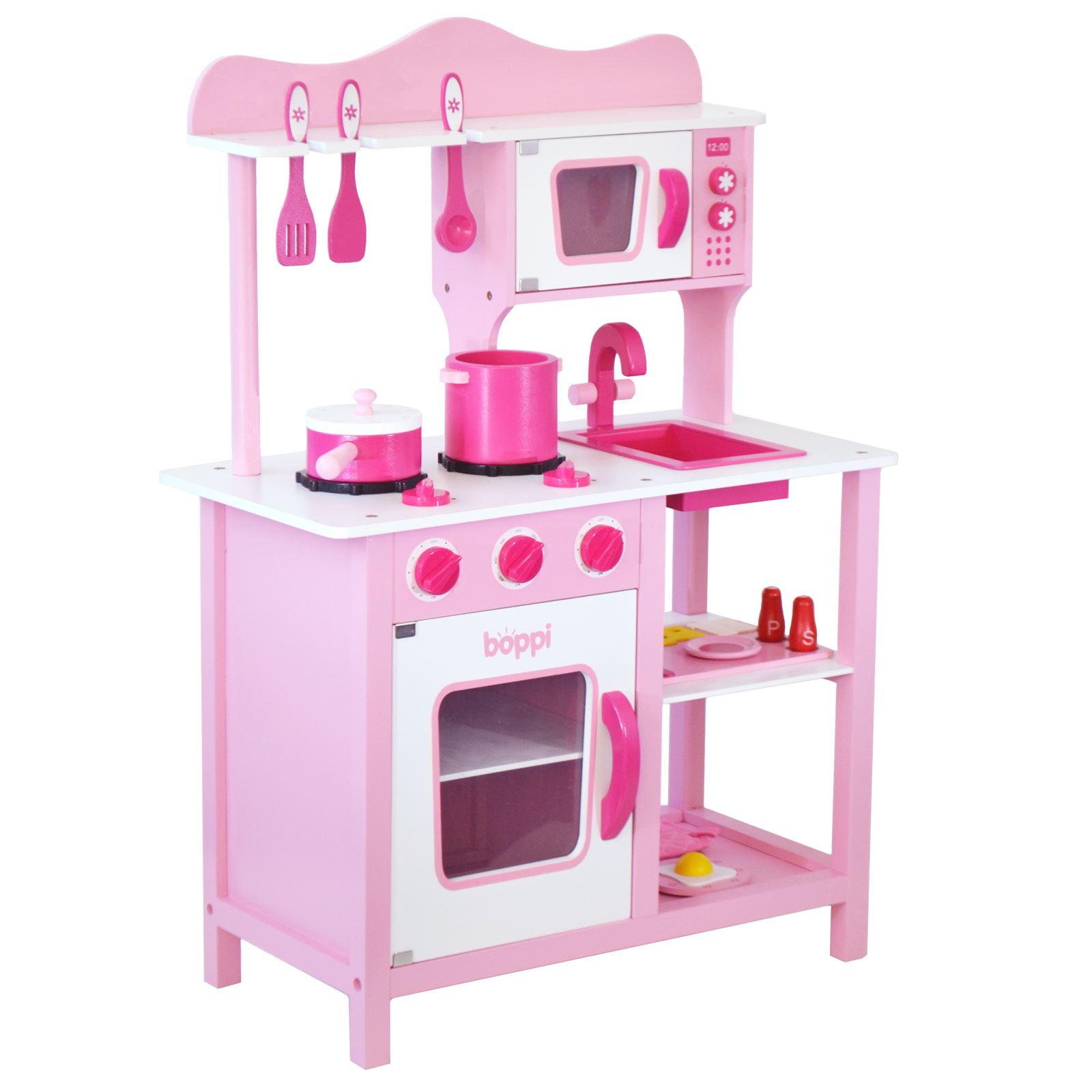 Childrens girls pink wooden toy kitchen with 20 piece for Cucine amazon