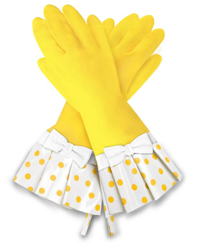 Gloveables Grandway Rubber Cleaning Gloves Yellow Retro
