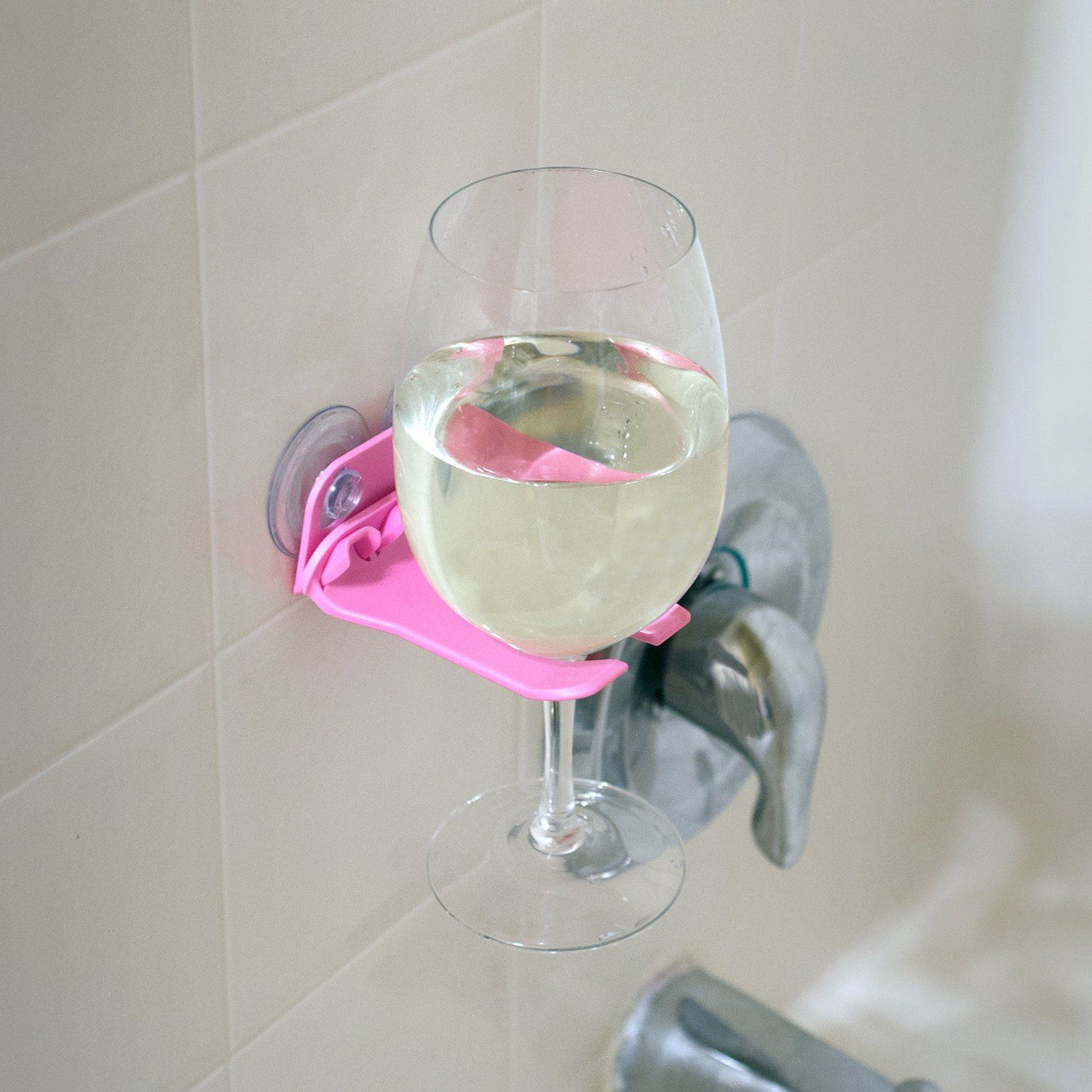bathtub wine glass holder suction cups by wavehooks 5 colors to choose ebay. Black Bedroom Furniture Sets. Home Design Ideas