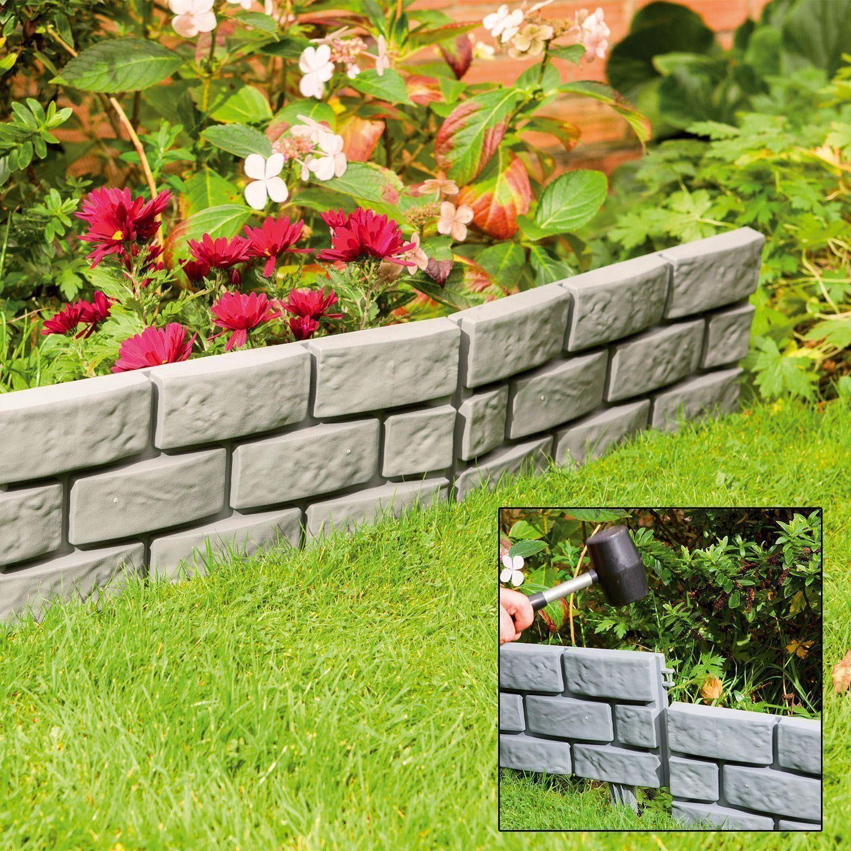 Garden Patio Edging Brick Effect Plastic Hammer-In Lawn ...