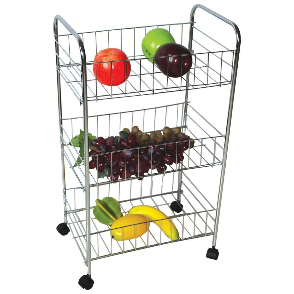 3 Tier Chrome Plated Kitchen Fruit Cart Vegetable Trolly Storage Stand Rack New Ebay