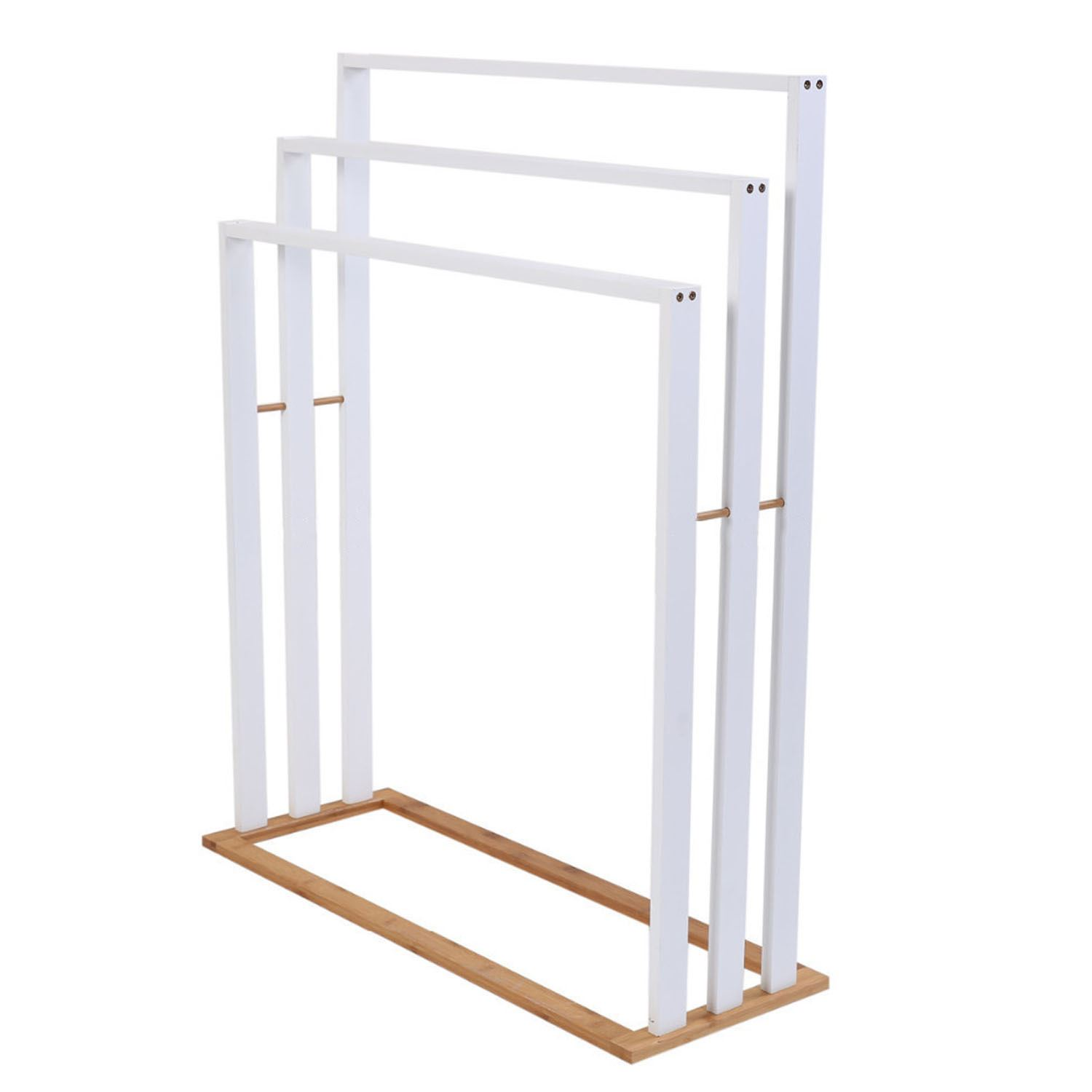 White Three 3 Tier Towel Holder Free Standing Floor Wooden Bathroom Rail Rack Ebay
