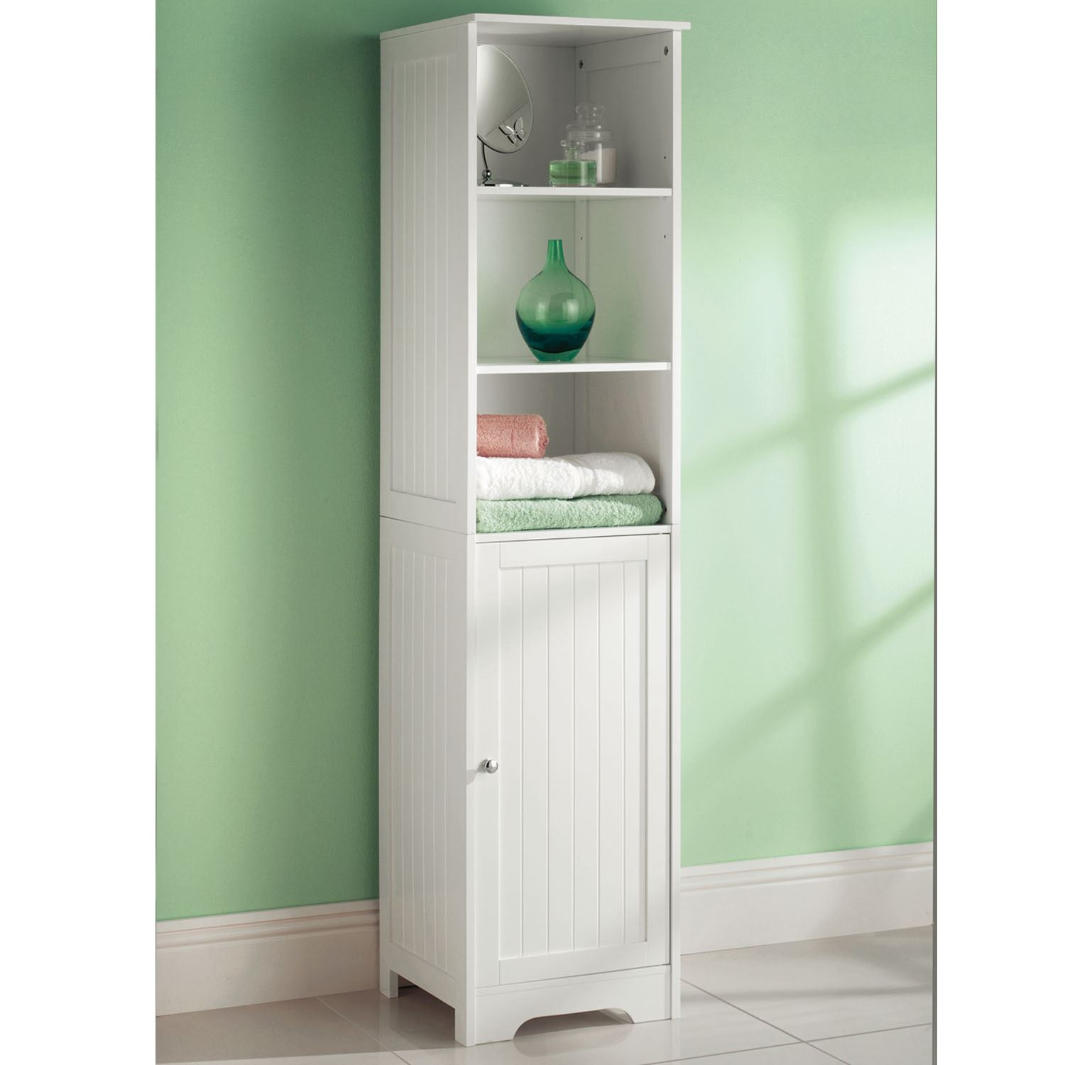 White wooden bathroom cabinet shelf cupboard bedroom storage unit free standing Wooden bathroom furniture cabinets