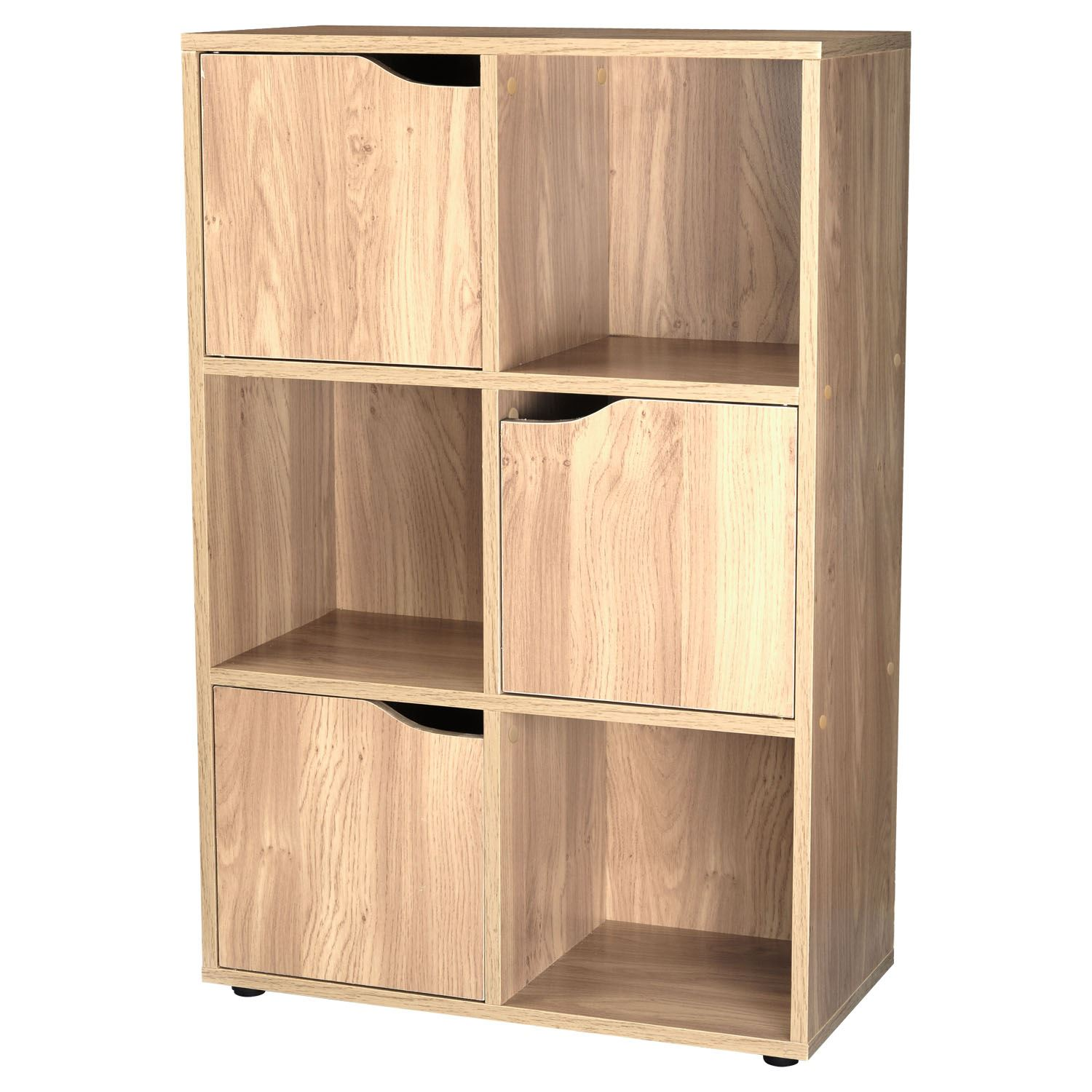 Details about 3/5 Door Oak 6/9 Cube Wooden Bookcase Storage Display