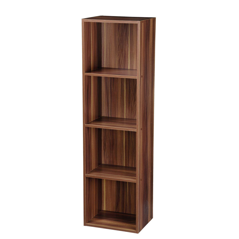 Multiple tier wooden bookcase shelf storage unit bookshelf