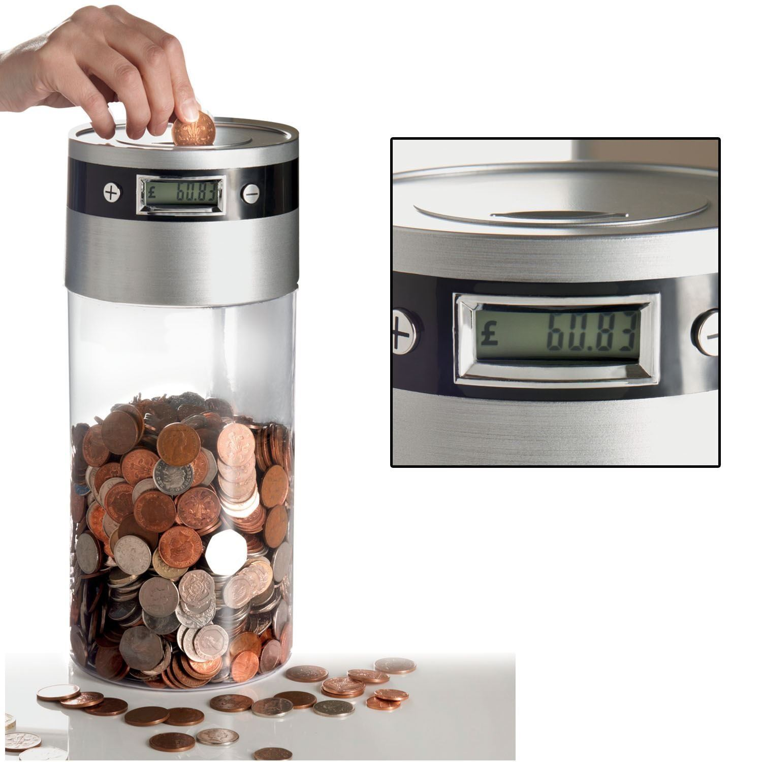 Digital coin counter lcd display jumbo jar sorter money box counts coins ebay - Sorting coin bank ...