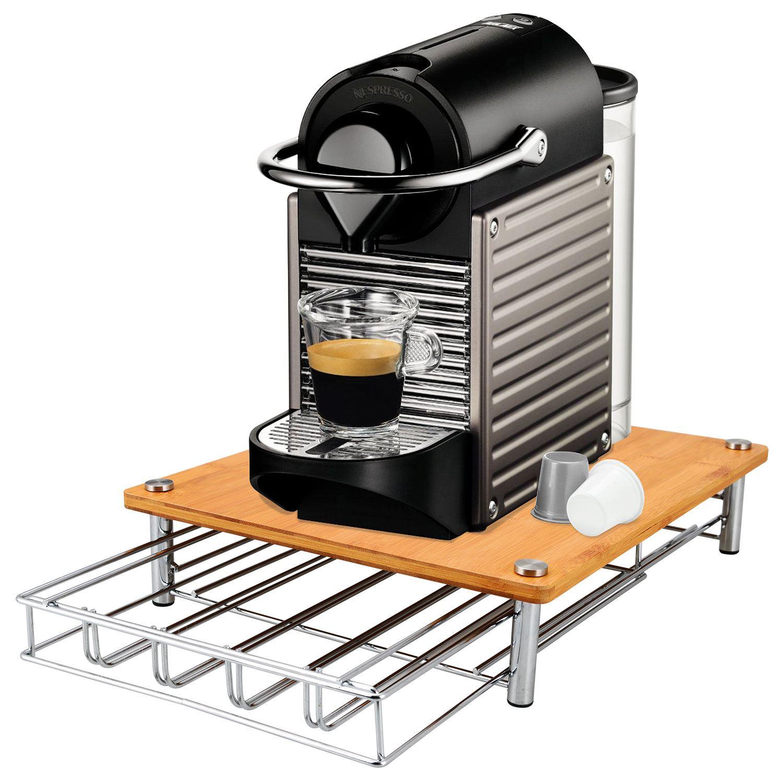 Bamboo Coffee Machine Stand Amp 35 Capsule Pod Holder Drawer