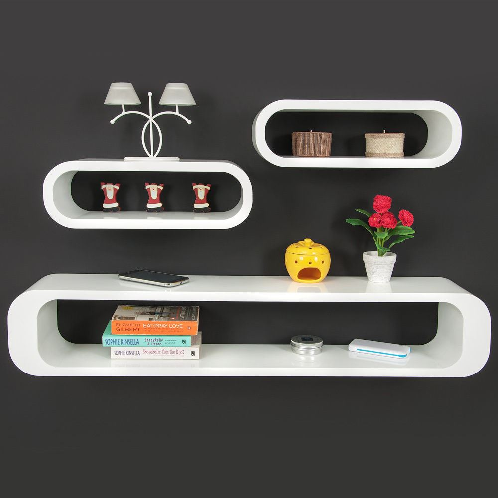 Set Of 3 Wall Mounted Shelves Cube Retro Stackable Mdf