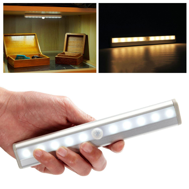 10 led motion activated cordless sensor led light indoor closet drawer wall lamp ebay. Black Bedroom Furniture Sets. Home Design Ideas