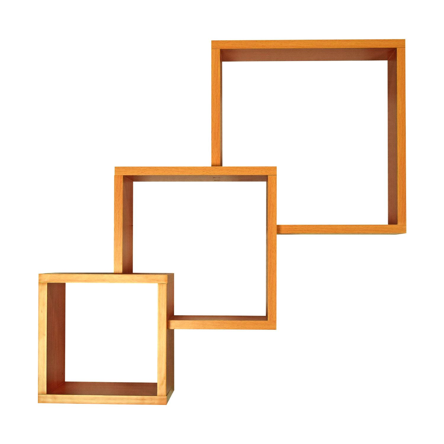 3 connected wood wall mounted cube shelves storage display for Cd mural wall display