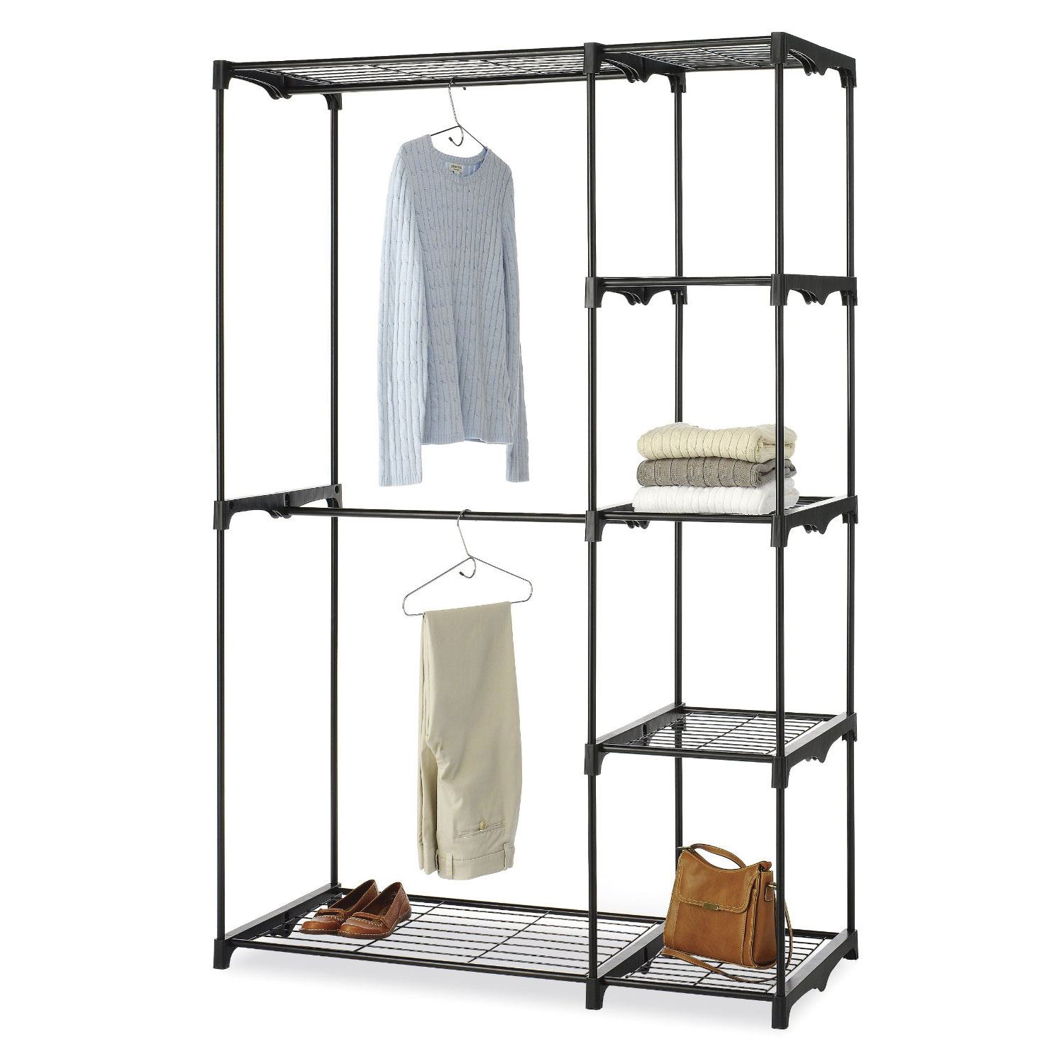 free standing portable 5 shelves closet storage organizer wardrobe clothes rack ebay. Black Bedroom Furniture Sets. Home Design Ideas