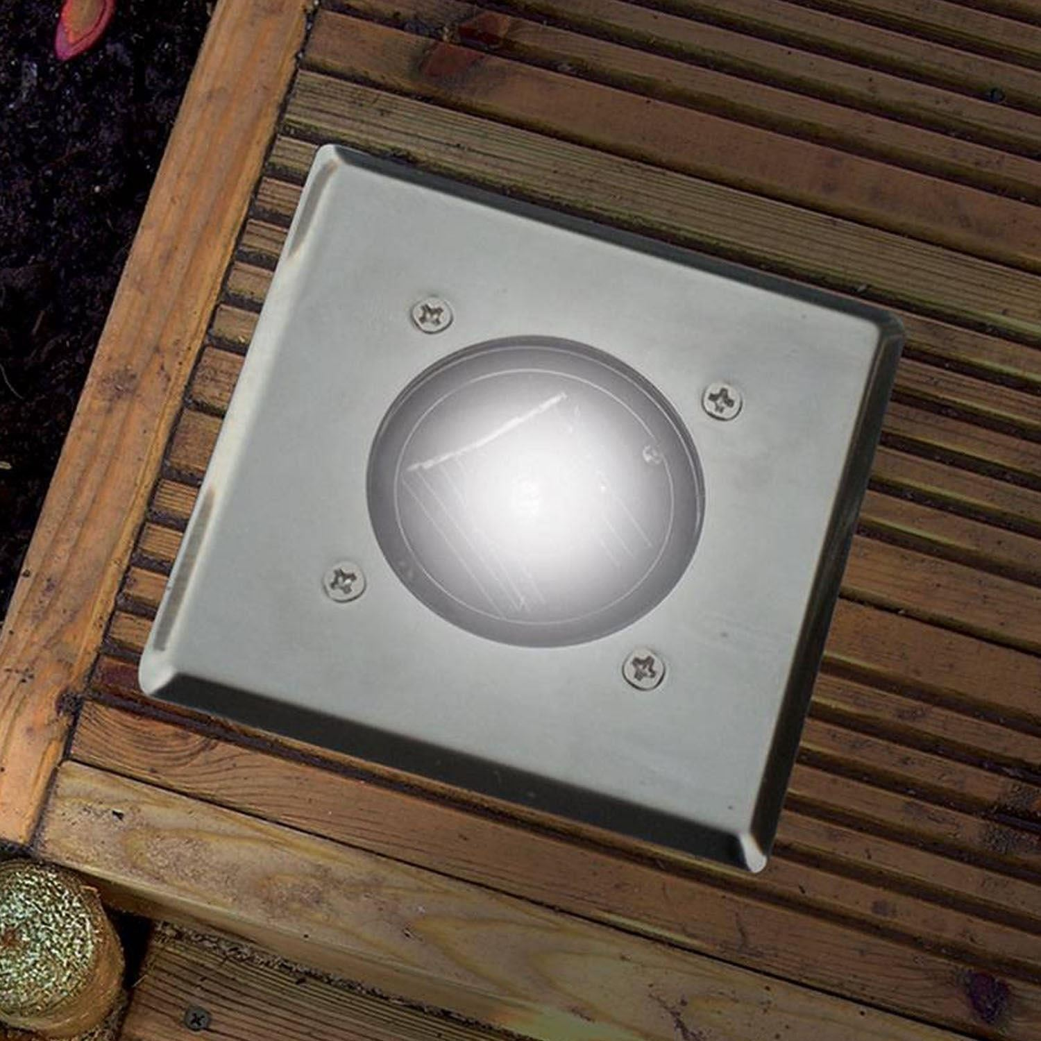 Solar Outdoor Patio Deck Lights: 12 Pack Bright White LED Square Solar Garden Decking Deck