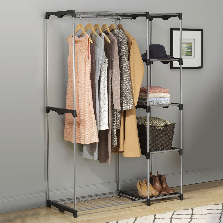 Portable Closet Rack : Double rod freestanding portable clothes wardrobe closet