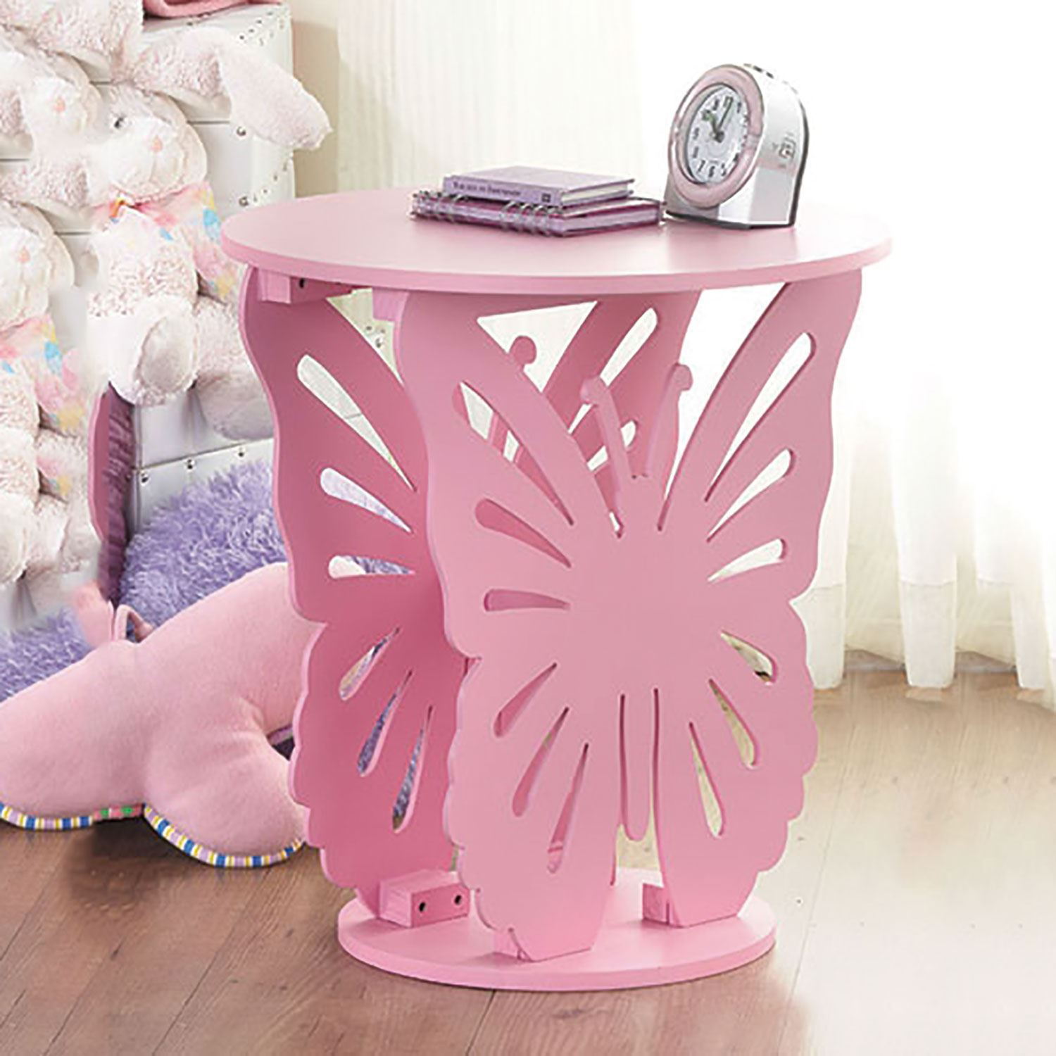 Children 39 s wooden butterfly table round side end lamp for Side table decor bedroom
