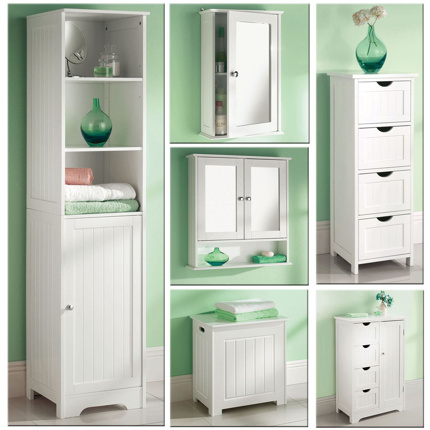 White wooden bathroom cabinet shelf cupboard bedroom - Wall mounted bathroom storage units ...